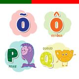 Portuguese alphabet. Fish, cheese. The letters and characters. Portuguese alphabet. Fish, cheese The letters and characters Stock Image