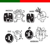 Portuguese alphabet. Monkey, turnips, eggs, pumpkin. The letters and characters. Stock Photos