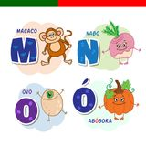 Portuguese alphabet. Monkey, turnips, eggs, pumpkin. The letters and characters. Royalty Free Stock Image