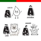 Portuguese alphabet. Olive oil, lion, pineapple. The letters and characters. Stock Images