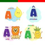 Portuguese alphabet. Olive oil, lion, pineapple. The letters and characters. Stock Image
