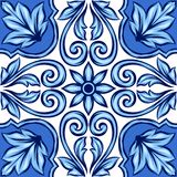 Portuguese azulejo ceramic tile. Ethnic folk ornament. Mediterranean traditional ornament. Italian pottery, mexican talavera or spanish majolica stock illustration