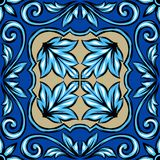 Portuguese azulejo ceramic tile. Ethnic folk ornament. Mediterranean traditional ornament. Italian pottery, mexican talavera or spanish majolica royalty free illustration