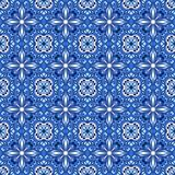 Portuguese azulejo ceramic tile pattern. Ethnic folk ornament. Mediterranean traditional ornament. Italian pottery, mexican talavera or spanish majolica vector illustration
