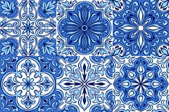 Portuguese azulejo ceramic tile pattern. Ethnic folk ornament. Mediterranean traditional ornament. Italian pottery, mexican talavera or spanish majolica royalty free illustration