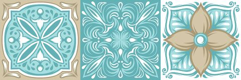 Portuguese azulejo ceramic tile pattern. Ethnic folk ornament. Mediterranean traditional ornament. Italian pottery, mexican talavera or spanish majolica vector illustration
