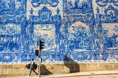 Portuguese azulejo tile on one of the streets of the Old Town. PORTO, PORTUGAL - MAY 7, 2017: Portuguese azulejo tile on one of the streets of the Old Town. In Royalty Free Stock Photography
