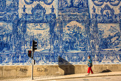 Portuguese azulejo tile on one of the streets of the Old Town. Stock Photos