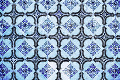 Portuguese azulejo tiles. Blue and white Abstract colorful wall Royalty Free Stock Photo