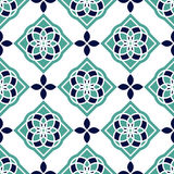 Portuguese azulejo tiles. Blue and white gorgeous seamless patterns. Royalty Free Stock Photography