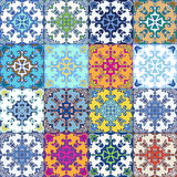 Portuguese azulejo tiles. Blue and white gorgeous seamless. Patterns. For scrapbooking, wallpaper, cases for smartphones, web background, print, surface texture Stock Photography