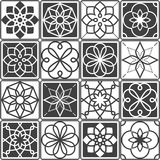 Portuguese Azulejo tiles design, seamless geometric patterns collection in dark grey Stock Photography