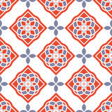 Portuguese azulejo tiles. Red and white gorgeous seamless patterns. Stock Photography