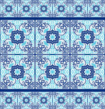 Portuguese azulejo tiles. Seamless patterns. Royalty Free Stock Image