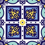 Portuguese azulejo tiles. Seamless patterns. Royalty Free Stock Images