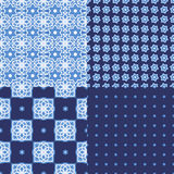 Portuguese azulejo tiles. Seamless patterns. Portuguese azulejo tiles. Blue and white gorgeous seamless patterns. For scrapbooking, wallpaper, cases for Stock Image