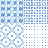 Portuguese azulejo tiles. Seamless patterns. Portuguese azulejo tiles. Blue and white gorgeous seamless patterns. For scrapbooking, wallpaper, cases for Royalty Free Stock Photos