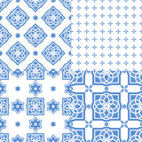Portuguese azulejo tiles. Seamless patterns. Portuguese azulejo tiles. Blue and white gorgeous seamless patterns. For scrapbooking, wallpaper, cases for Royalty Free Stock Images