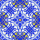 Portuguese azulejo tiles seamless patterns. Royalty Free Stock Photography