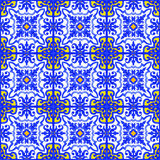 Portuguese azulejo tiles seamless patterns. Royalty Free Stock Image