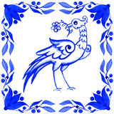Portuguese azulejo tiles. Watercolor seamless pattern with bird Royalty Free Stock Images