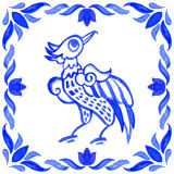 Portuguese azulejo tiles. Watercolor seamless pattern with bird Royalty Free Stock Image