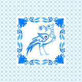 Portuguese azulejo tiles. Watercolor seamless pattern with bird Stock Photo