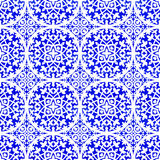 Portuguese azulejo tiles. Watercolor seamless pattern. Portuguese azulejo tiles. Blue and white gorgeous seamless patterns. For scrapbooking, wallpaper, cases Stock Photo
