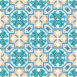 Portuguese azulejo tiles. Watercolor seamless pattern Royalty Free Stock Images