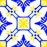 Portuguese azulejo tiles. Watercolor seamless pattern Stock Images