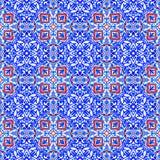 Portuguese azulejo tiles. Watercolor seamless pattern Royalty Free Stock Image