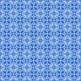 Portuguese azulejo tiles. Watercolor seamless pattern Stock Photography
