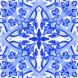 Portuguese azulejo tiles. Watercolor seamless pattern stock image