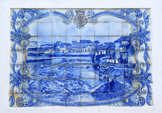Portuguese azulejo of the town of Braganca. Example of an azulejo, a form of Portuguese or Spanish painted, tin-glazed, ceramic tilework. Azulejos have become a royalty free stock photos