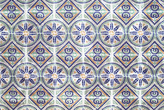 Portuguese azulejos, old tiled background Stock Photos