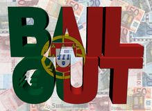 Portuguese Bail Out text on euros Royalty Free Stock Image