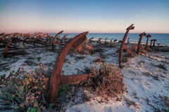 Portuguese beach cemetery anchors. Stock Images
