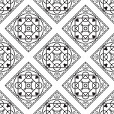 Portuguese black and white mediterranean seamless tile pattern. Geometric monochrome shapes vector texture for ceramic design, textile and wallpaper Stock Image