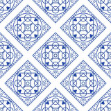 Portuguese blue and white mediterranean seamless tile pattern. Geometric monochrome shapes vector texture for ceramic design, textile and wallpaper Stock Photo
