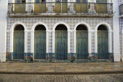 Portuguese Brazilian Colonial Architecture Sao Luis Brazil. Traditional Portuguese colonial architecture color and syle in Sao Luis Brazil stock photo