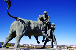 Portuguese bullfighting sculpture, Amieira village Stock Images
