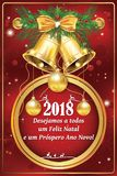 Portuguese business season`s greetings - New Year card. Portuguese business season`s greetings - Christmas & New Year card Portuguese text - We wish you Merry Stock Photos