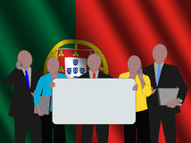 Portuguese business team with flag Royalty Free Stock Photography