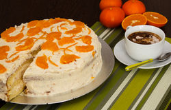 Portuguese cake. A cake made of eggs, flour, sugar, milk, butter royalty free stock photography