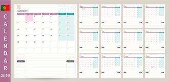 Portuguese planning calendar 2019. Portuguese calendar planner 2019, week starts on Monday, set of 12 months January - December, simple calendar template, set stock illustration