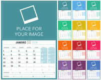Portuguese Calendar 2018. Portuguese planning calendar 2018, set of 12 months January - December, week starts on Monday, colorful calendar template, vector stock illustration