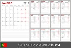 Portuguese calendar 2019. Portuguese calendar planner 2019, week starts on Monday, set of 12 months January - December, calendar template size A4, simple design vector illustration
