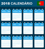 Portuguese Calendar for 2018. Scheduler, agenda or diary template. Week starts on Monday Royalty Free Stock Photo