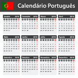 Portuguese Calendar for 2018. Scheduler, agenda or diary template. Week starts on Monday Royalty Free Stock Images