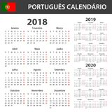 Portuguese Calendar for 2018, 2019 and 2020. Scheduler, agenda or diary template. Week starts on Monday.  Stock Photo